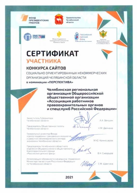 Диплом участника конукрса сайтов НКО